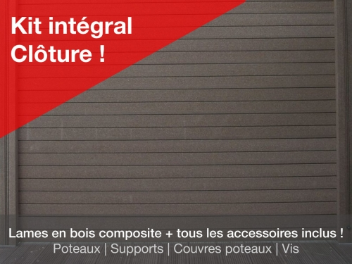 Kit pr t installer cl ture bois composite jardin composite - Lame de cloture composite ...